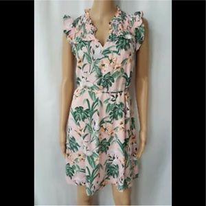 Loft Lily Ruffle Tie Waist Dress V Neck Floral